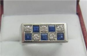Superb 1950's 18ct white gold square cut sapphires & diamonds checkerboard ring